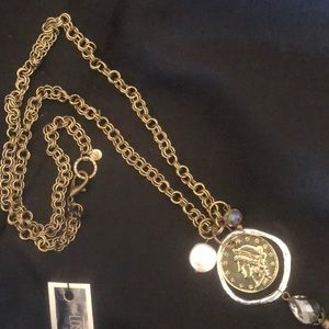 "Jewelry - NEW 32"" Gold Necklace with Coin Bead charms"